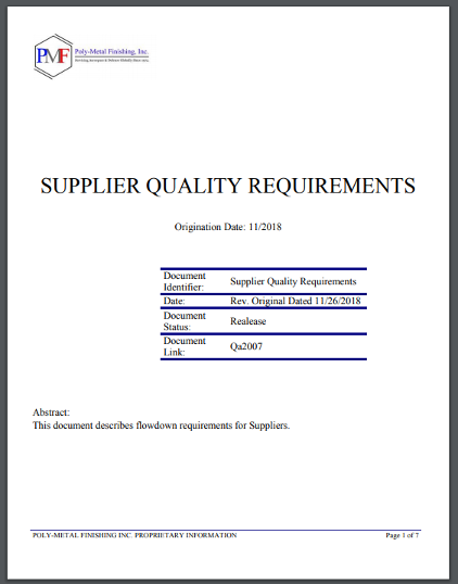 Supplier QA Requirements
